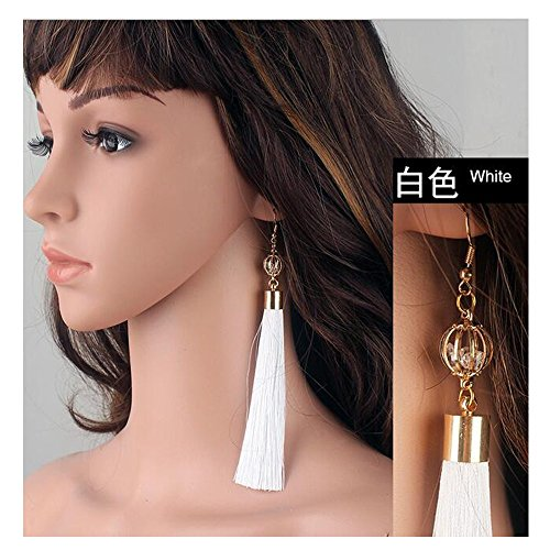 [Luck Wang Lady's Unique National Wind Retro Exaggerated Tassel Long Section Earrings(White)] (Different Types Zombie Costumes)