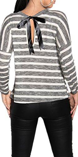 KouCla - Camiseta de manga larga - Rayas - Manga Larga - para mujer negro