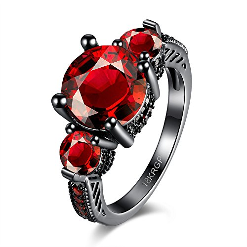 [Eternity Love Wedding Bands Women's 18K Black Gold Plated Rings Princess Cut Red/Purple CZ Crystal Engagement Rings Best Promise Rings Anniversary Wedding Rings for Lady Girl, Red,] (Homemade Wolf Costumes For Kids)