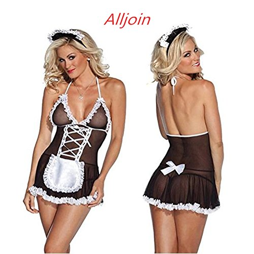 Alljoin Sexy Lingerie Outfits Frisky French Maid Sexy Costume For Women, Black/White (L, Black-White 1#) - Womens Seductive Maid Costumes