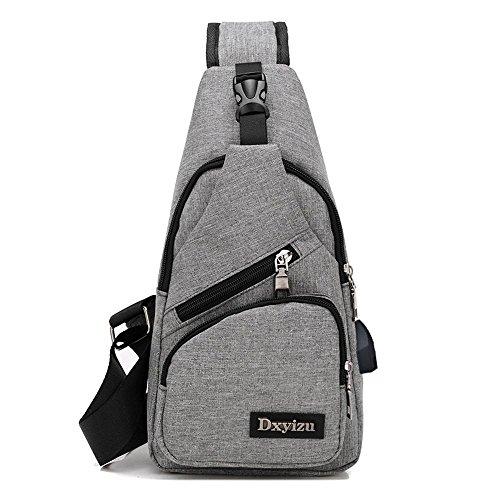 Aoligei Toile USB chargeur poitrine Backpack Sac masculin sac version coréenne occasionnels poitrine mâles et femelles épaule Messager hommes sac A