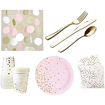 Pink and Gold Party Supplies Elegant Gold Foil St& DELUXE For 12 Guests Dessert Appetizer paper Plates Napkins u0026 Cups Gold Cutlery Silverware u0026 Glittery ...  sc 1 st  Amazon.com & Amazon.com: Amscan Party Supplies Mini Paper Scalloped Square Plates ...