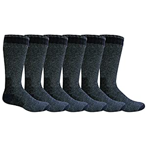 "Freshox Men's ""6 Pair"" WOOL Heavy Boot Socks Hunting Camping Trekking Hiking,10-13,Navy"