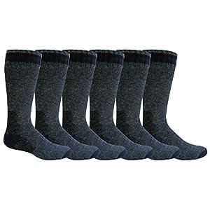 """Freshox Men's """"6 Pair"""" WOOL Heavy Boot Socks Hunting Camping Trekking Hiking,10-13,Navy"""