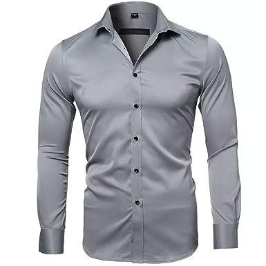 Gdtime Camisas De Vestir De Fibra De Bambú Para Hombre Slim Fit Color Sólido Camisas Casuales De Manga Larga Camisas Con Botones Camisas Elásticas