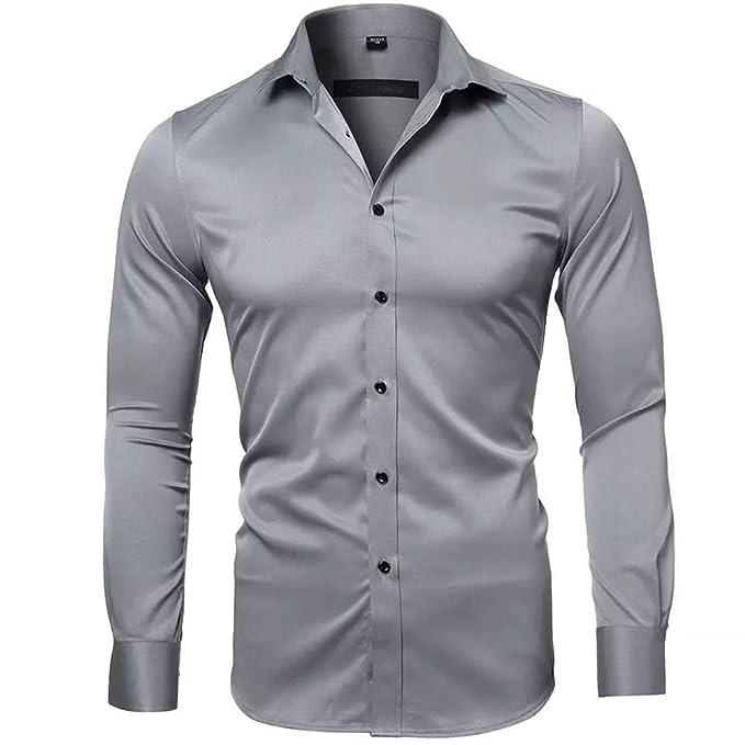 Camisas de vestir de fibra de bambú slim fit para hombres de color solido.