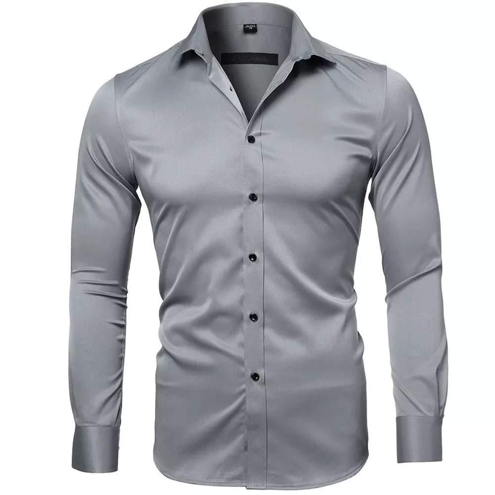 e0970a42b2 Gdtime Camisas De Vestir De Fibra De Bambú para Hombre Slim Fit Color  Sólido Camisas Casuales