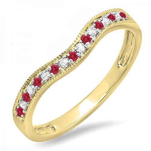 Dazzlingrock Collection 14K Yellow Gold Round Ruby & White Diamond Ladies Anniversary Wedding Band Guard Ring (Size 7) -