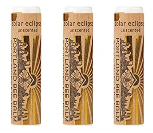 (Portland Bee Balm Solar Eclipse All Natural Handmade Beeswax Based SPF 15 Lip Balm, 3 Tube Pack)