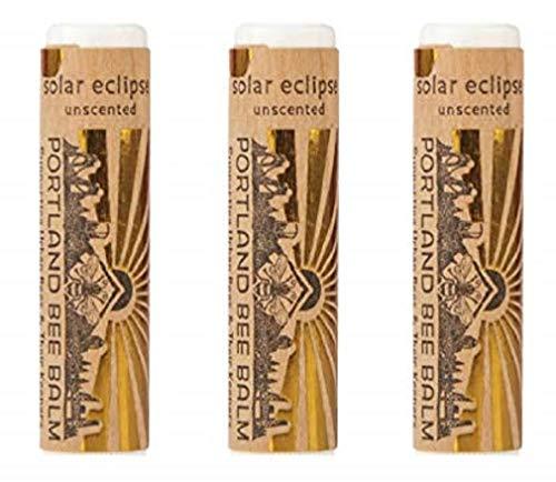 Portland Bee Balm Solar Eclipse All Natural Handmade Beeswax Based SPF 15 Lip Balm, 3 Tube Pack