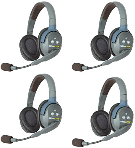 Eartec UL4D UltraLITE Full Duplex Wireless Intercom 2 Way Communication System for 4 Users - 1 ULDM Dual-Ear Master Headset and 3-Pack of ULDR Dual Ear Remote Headsets from Eartec