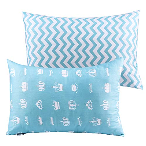 UOMNY Kids Toddler Pillowcases 2 Pack 100% Cotton Pillowslip Case Fits Pillows sizesd 13 x 18 or 12x 16 for Kids Bedding Pillow Cover Baby Pillow Cases Blue Crown/Wave
