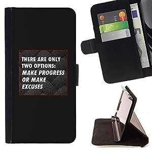 BullDog Case - FOR/Sony Xperia Z3 D6603 / - / black grey progress no excuses inspiring /- Monedero de cuero de la PU Llevar cubierta de la caja con el ID Credit Card Slots Flip funda de cuer