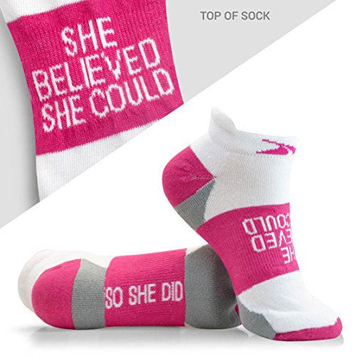 inspirational-athletic-running-socks-womens-woven-low-cut-she-believed-fuchsia