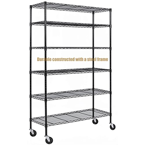 Big Finish Dance Costume - Durable Constructed 6-Tier Steel Shelving Storage Organizer Adjustable With Castor Wheels - Black Finish #1145