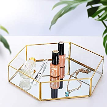 Pasutewel Vintage Glass Tray Perfume Tray Decorative Jewelry Makeup Accessories Organizer Metal Mirrored Ornate Tray for Bathroom, Countertop, Badroom (Size 2)