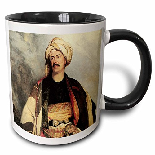 3dRose BLN Middle Eastern and Northern African Fine Art Collection - David Roberts Esq. in the Dress in Wore in Palestine by Robert Scott Lauder - 15oz Two-Tone Black Mug ()