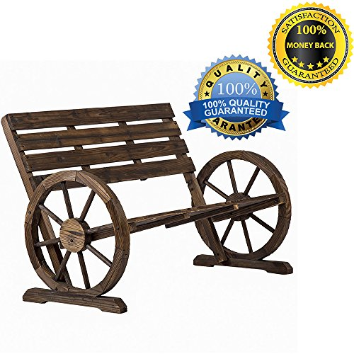 BestMassage Patio Garden Wooden Wagon Wheel Bench Rustic Wood Design Outdoor Furniture