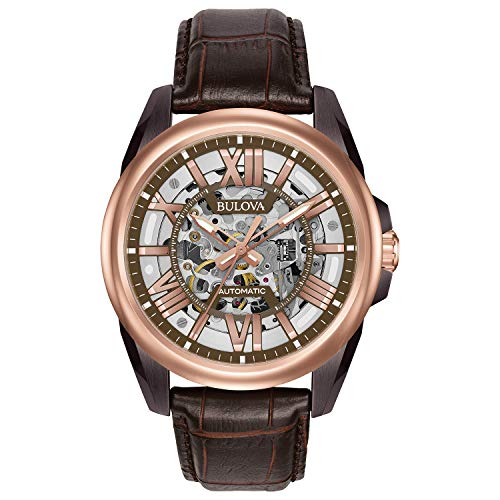 Bulova Men's Mechanical Hand Wind Stainless Steel and Leather Dress Watch, Color:Brown (Model: 98A165) ()