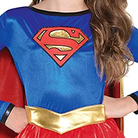 Costumes USA Superman Supergirl Costume for Girls, Includes a Dress, an Attached Belt, and a Red Cape