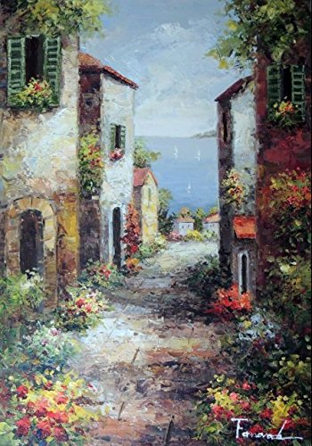100% Hand Painted Mediterranean Italian Town Homes Spring Flowers Canvas Oil Painting for Home Wall Art by Well Known Artist, Framed, Ready to Hang