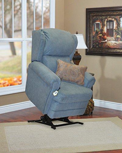 Med Oak Frame - Medlift 5400-ABB Abby Wall-a-Way Reclining Lift Chair with Coordinating Paisley Print Lumbar Pillow Blue