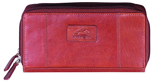 mancini-leather-goods-ladies-rfid-double-zipper-clutch-wallet-cognac