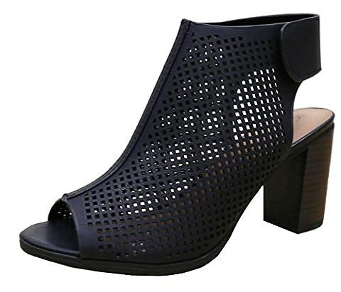 Cambridge Select Women's Laser Cut Slingback Stacked Heel Pump Bootie (6.5 B(M) US, Black) - Slingback Platform Heels