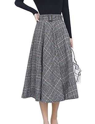 Tanming Women's Elastic Waist Belted Wool Blend Check Plaid Midi Skirt