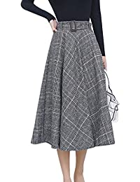 Women's Elastic Waist Belted Wool Blend Check Plaid Midi Skirt