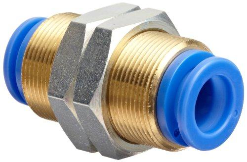 SMC KQ Series Brass Push-to-Connect Tube Fitting, Bulkhead Union, 8mm Tube OD x M20x1, Black