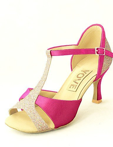 Dance Salsa Heel Women's Purple Yellow Pink Red Black White Customizable Blue ShangYi Fuchsia Shoes Latin fuchsia Satin Customized wqFEE8XH