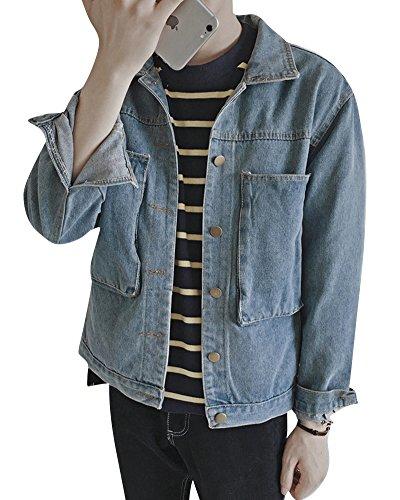 Di Denim Giacche Azzurro Casual Uomo Jeans Chiaro Lunga Giacca Manica Giubbotto Cappotto 40nwt8