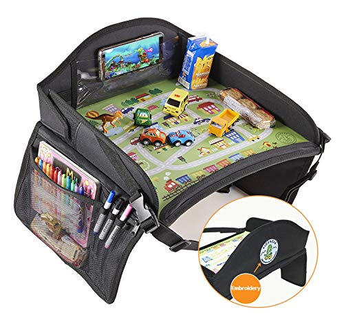 KIDSNEAR Kids Travel Tray, Toddler Car Seat Travel Tray, Food Tray, Stroller Tray, Travel Play Tray for Airplane or Car with Toy Organizer, Dry Erase Board, iPad, Tablet Holder, 16.8 X 13 inches