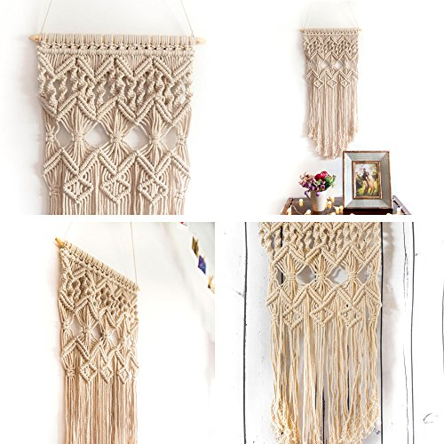 Macrame Wall Hanging Woven Large Tapestry - Handmade Bohemian Home Decor - Boho Chic Apartment Studio or Dorm Decorative Interior Wall Art - Office Living Room Bedroom Nursery Craft Decorations (Outdoor Kids Rustic Chair Red)