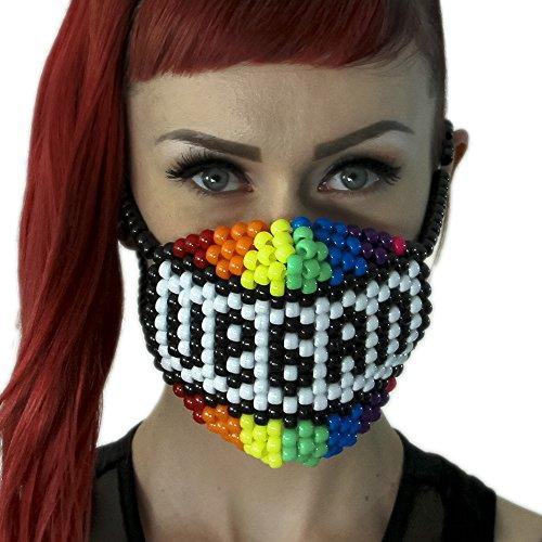"""Masque Kandi """"Vegan Arc-en-ciel"""" - Kandi Gear, masque pour rave party, masque pour Halloween, masque de perle pour festivals de musique et fêtes"""
