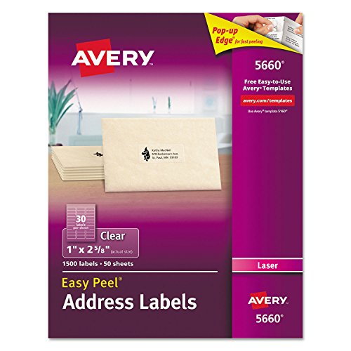 Easy Peel Laser Mailing Labels, 1 x 2-5/8, Clear, 1500/Box, Sold as 1 Box Avery Dennison Laser Labels