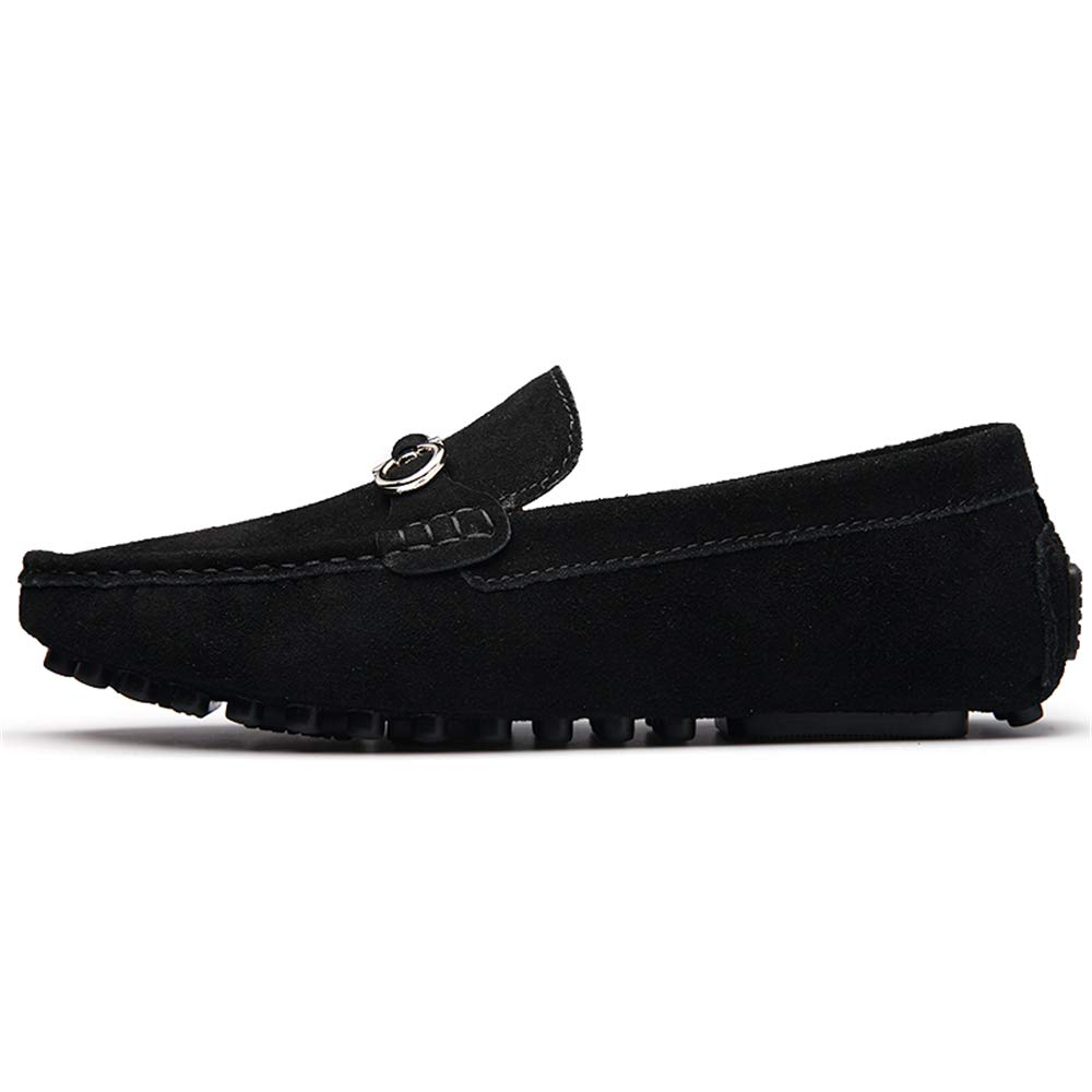 Hishoes Men Driving Loafers Casual Comfortable with Low Top Pure Color Boat Moccasins Anti-Slip