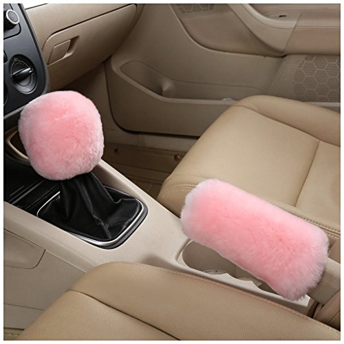 Dotesy Genuine Sheepskin Auto Gear Shift Knob Cover Handbrake Cover Set - Soft Fluffy Pure Wool Car Interior Gear Shift Parking Break Cover Protector Sleeve, Pink ()
