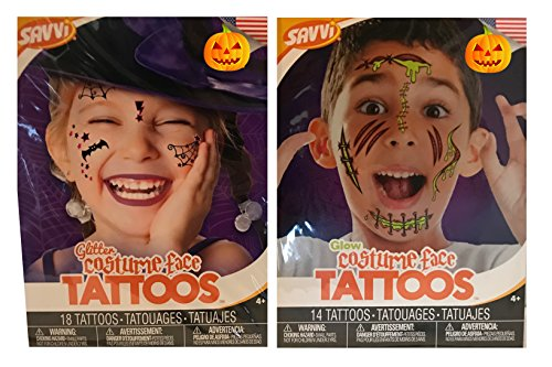 [Tattoo Masks - For All Ages, Party, Halloween, Dress-Up, Costume With Elastic Strap (Tattoo Set - Glitter & Glow)] (Superhero Themed Costumes Ideas)