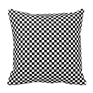 "Black and White Squares Plaid Pillow Square 18"" Decorative Pillow Case Covers"