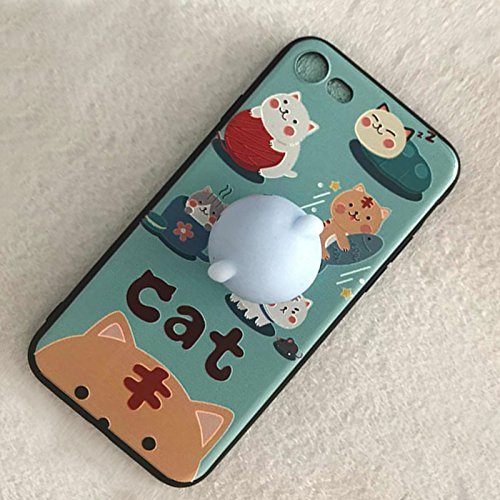 Pinzhi 3D Nice Soft Silicone Pappy Squishy Cat pour iphone 7 Housse Case Octopus Phone Case Style E
