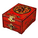 EXP Handmade Tibetan Leather Jewelry Box With Built-In Folding Mirror