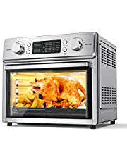 24-in-1 Air Fryer Oven, 26.3 Quart Large Convection Toaster Oven Countertop Stainless Steel with Rotisserie and Food Dehydrator, 10 Accessories and Recipe Included