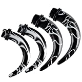 bodyjewellery 4Pcs 0g 0 gauge 8mm 00g 00 gauge 10mm Claw Tapers Black Acrylic Ear s Stretching Plugs ANGV Piercing