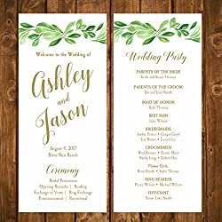 Wedding Program Greenery with ANY Wording Printed