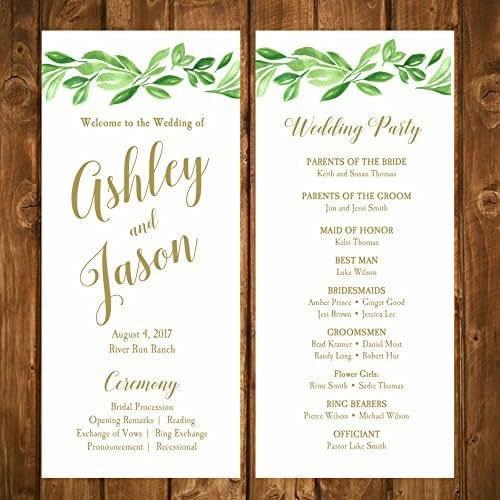 Amazon.com: Wedding Program Greenery With ANY Wording