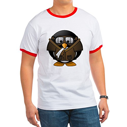 Truly Teague Ringer T-Shirt Little Round Penguin - Airplane Jet Pilot - Red/White, Medium