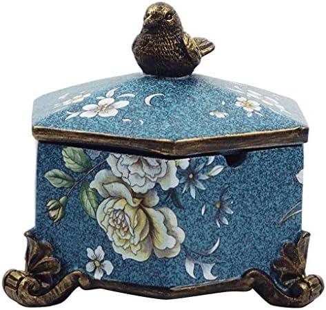 LKB-KB 灰皿ハイグレード中国のレトロな樹脂六角蓋小灰皿(ブルーカラー)と灰皿ホーム家庭用コーヒーテーブル装飾飾りを描きました