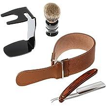 Anself 4 in 1 Man's Shaving Razor Set Shaving Brush+ Straight Razor + Brush Stand + Leather Strop Strap Razor Tools Kit